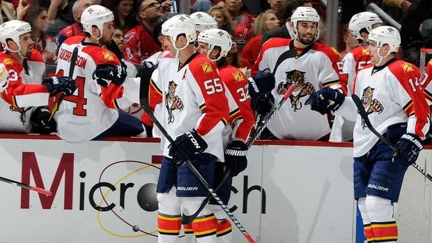 Despite a 4-2 loss to the Washington Capitals on Thursday, Ed Jovanovski (55) and the Florida Panthers clinched their first playoff spot in 12 years.