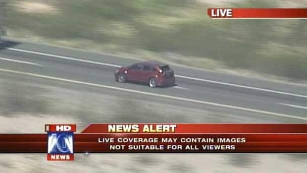 In this video screen shot, a vehicle involved in a police car chase is followed on an interstate highway by a television station helicopter west of Phoenix on Sept. 29.