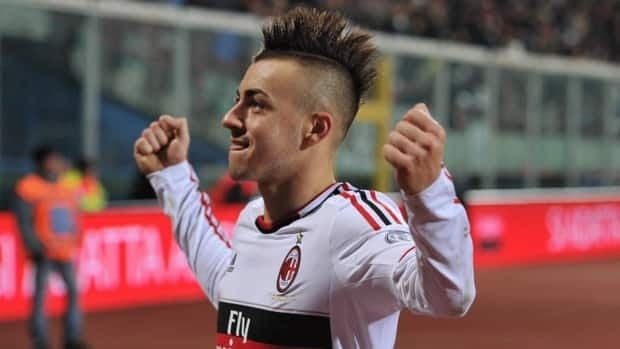 AC Milan forward Stephan El Shaarawy celebrates after scoring against Catania and AC Milan at the Angelo Massimino stadium in Catania, Italy, Friday, Nov. 30, 2012.