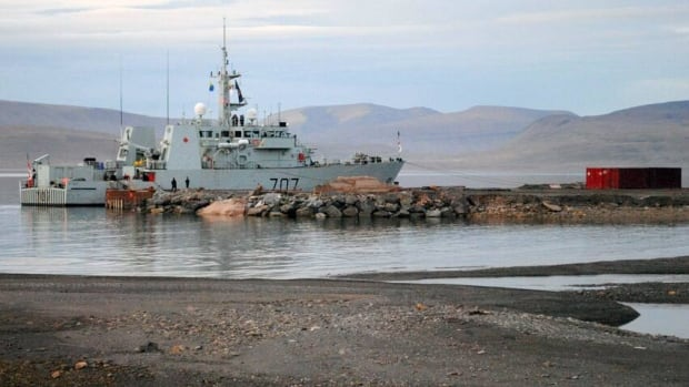 HMCS Goose Bay moored at the future site of the Nanisivik Naval Facility. Environmental remediation of the site is necessary before the Department of National Defence can take possession.