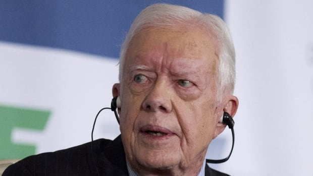 Former president Jimmy Carter, seen here speaking in Washington last week, warned against the 'excessive influx of money' in U.S. politics, particularly because of the Citizens United ruling.