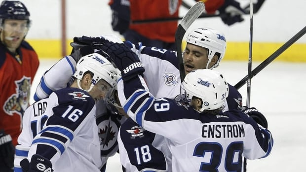 Jets players celebrate a goal during the last visit to Sunrise, Fla. Winnipeg is 1-2-2 against the Panthers this season heading into to the final meeting.