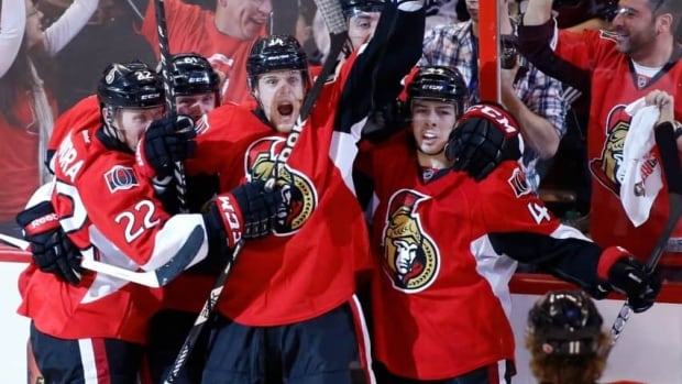 "Ottawa Senators Erik Condra, far left, and Colin Greening, middle left, were key parts of the ""pesky Sens"" in the 2012-13 season. But some wonder whether they've reached their ceiling."