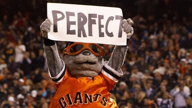 The San Francisco Giants mascot Lou Seal celebrates after Matt Cain's perfect game against the Houston Astros at AT&T Park on Thursday in San Francisco, California.
