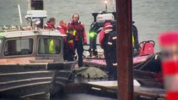 Rescue workers bring the remains of a plane crash victim to the dock in Pitt Lake Monday.