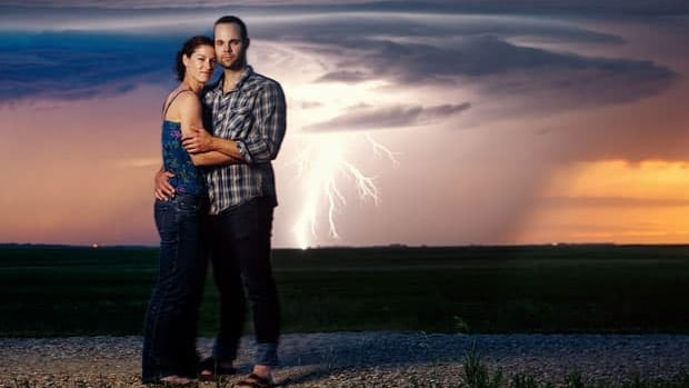 Regina photographer Chris Graham clicked the shutter in time to capture lightning behind Lindsay Richardson and Dane Stennes, who are getting married in the fall.