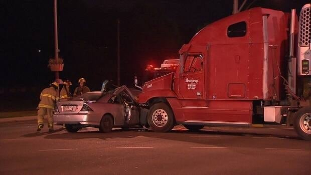 A car collided with a semi-truck early Saturday morning in Kirkland.
