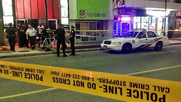 The police investigation closed Yonge Street between Gould and Dundas Street West.