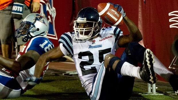 Toronto Argonauts cornerback Patrick Watkins against the Montreal Alouettes on Friday, July 27, 2012 in Montreal.