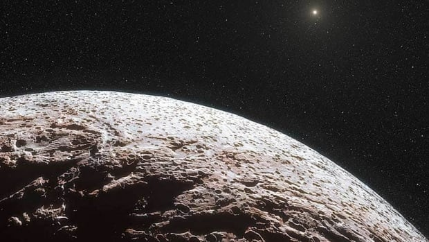 This artist's impression shows the surface of the distant dwarf planet Makemake. System European Southern Observatory/Nature/AP Photo