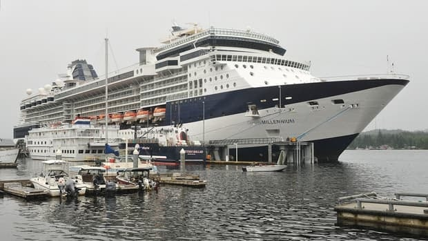 Celebrity Cruises ship Millennium is docked in Ketchikan, Alaska Wednesday. The ship, which has been running cruises between Vancouver and Seward, Alaska, this summer became stuck in port after experiencing mechanical issues during a trip last week; and again during another trip over the weekend.