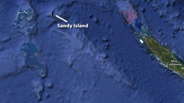 Sandy Island, 1,200 kilometres east of Australia and northwest of New Caledonia, appears as vertical black slit on Google Earth.