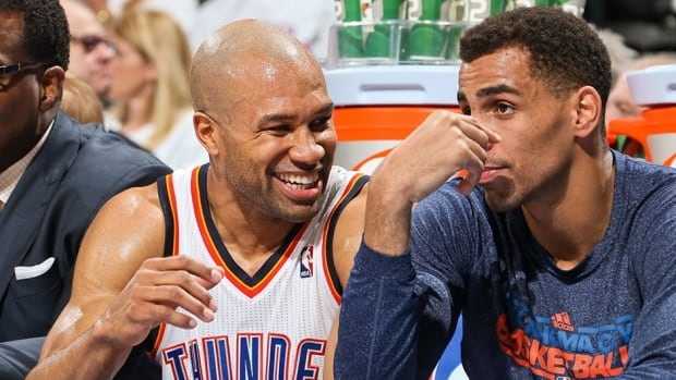 The Oklahoma City Thunder have re-signed veteran guard Derek Fisher, left, to a new contract. The five-time NBA champion played parts of the last two seasons with the Thunder.