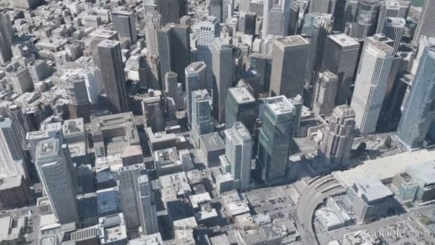 A screen grab from a YouTube video showing off Google's new 3D imagery of entire cities. San Francisco will be the first city to get the full 3D treatment.