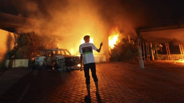 The U.S. Consulate in Libya is seen in flames during a protest reportedly sparked by a film which ridiculed the Prophet Muhammad, a key figure in Islam.