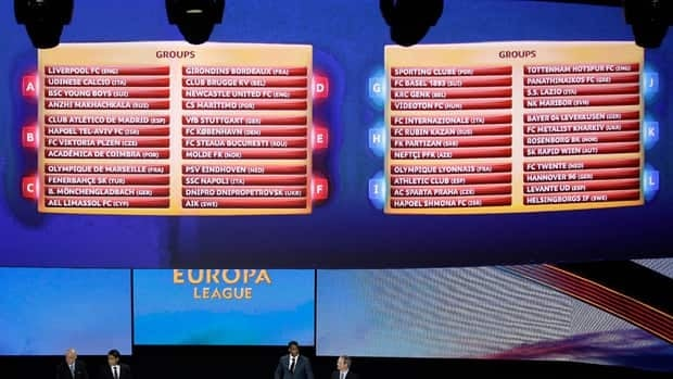 The final draws for the Europa League are displayed following the draw ceremony for the first round of the 2012/2013 season. UEFA's second-tier club competition has been subject of speculation it could be killed off when existing three-year television contracts expire.