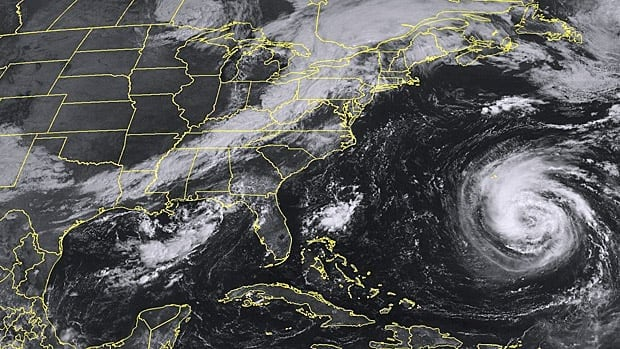 This NOAA satellite image taken Saturday, Sept. 8, at 10:45 a.m. EDT shows tropical storm Leslie as it slowly moves northward in the west-central Atlantic.