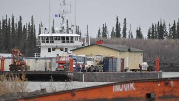 The Northern Transportation Company Ltd. barge transporting the mosque down the Mackenzie River in September 2010.
