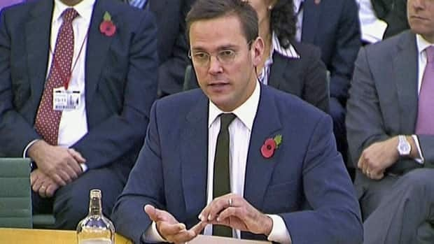 News Corp. executive James Murdoch is stepping down as executive chairman of the company's U.K. newspaper arm.