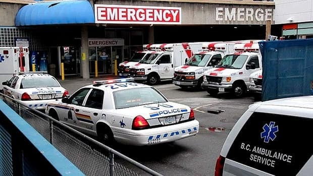 Surrey Memorial Hospital was locked down on Friday afternoon after two men who were shot turned up at the emergency room.