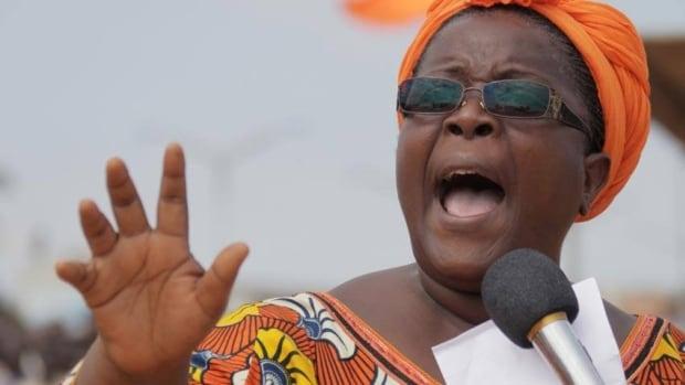 Activist leader Isabelle Ameganvi calls on Togo's women to observe a one-week sex strike beginning Monday, in Lome, Togo.