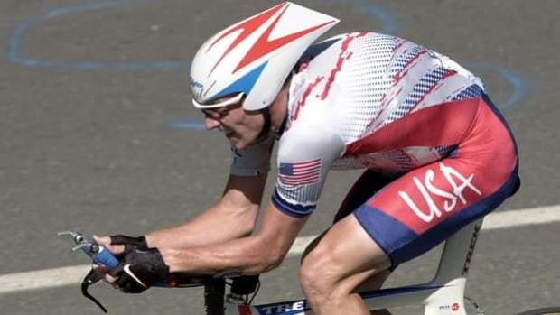 Lance Armstrong cycles to an Olympic bronze medal in the individual time trial on Sept. 17, 2000.
