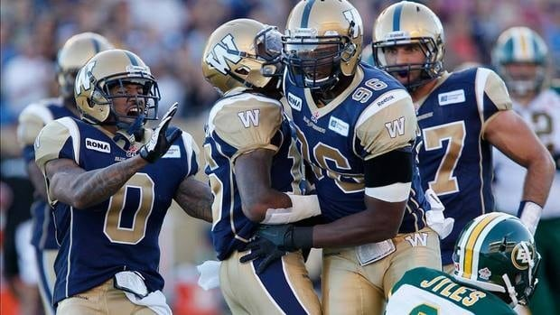 Winnipeg Blue Bombers' Johnny Sears (0), Demond Washington (15) and Alex Hall (96) celebrate a sack on Edmonton Eskimos' Steven Jyles on Thursday night. There was lots to celebrate in Winnipeg as the club won its first of the year.