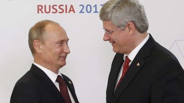 Prime Minister Stephen Harper shakes hands with Russian President Vladimir Putin as he arrives for the official welcome at the APEC Summit in Vladivostok, Russia.