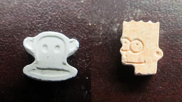 Police photographs showed seized ecstasy drugs in the shape of cartoon characters Julius the Monkey and Bart Simpson.
