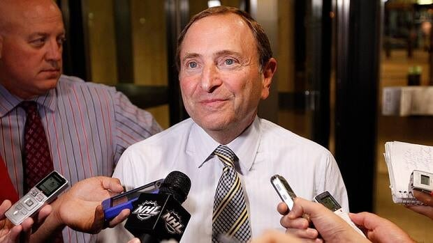 NHL Commissioner Gary Bettman speaks to reporters after a negotiation session between the league and the NHLPA.