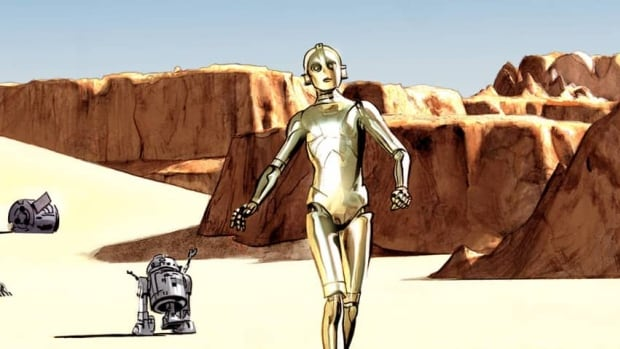 This comic book image provided by Dark Horse Comics shows characters C-3PO, right, and R2-D2 from The Star Wars, from the eight-issue mini-series, a 1974 first draft by George Lucas that turned into the popular film.