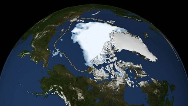 This image shows the extent of Arctic sea ice on Sunday, the day the sea ice dipped to its smallest extent ever recorded in more than three decades of satellite measurements, according to NASA and the National Snow and Ice Data Center.