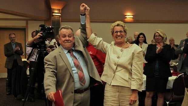 Thunder Bay-Superior North MPP Michael Gravelle says he feels a resurgence of energy after battling lymphoma. He raises his hand in triumph with Ontario Premier Kathleen Wynne after he was nominated to run — for a sixth time — for the Liberals in the next provincial election.