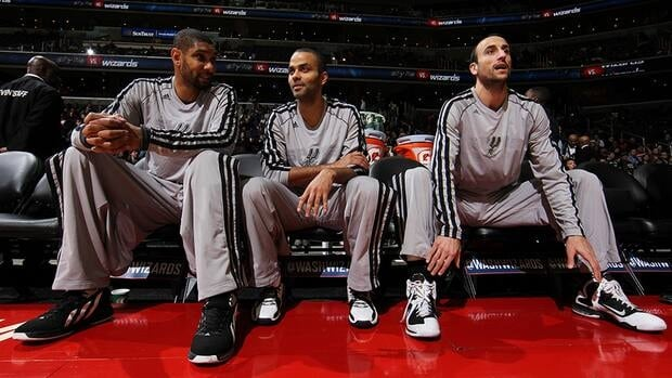 Tim Duncan, left, Tony Parker, centre, and Manu Ginobili, right, along with teammate Danny Green were all sent home by the San Antonio Spurs to rest after a lengthy road trip prior to their game against the Miami Heat. The NBA did not take the news well.