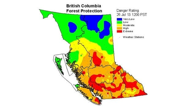 After nearly a month of hot, dry weather, B.C.'s fire danger rating is extreme in many areas.