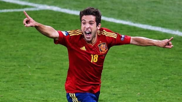 Jordi Alba of Spain celebrates after scoring his team's second goal during the EURO 2012 final match against Italy at the Olympic Stadium on July 1, 2012 in Kiev, Ukraine.