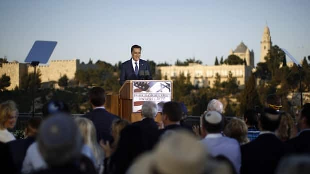 U.S. Republican presidential hopeful Mitt Romney, seen speaking in Jerusalem on Sunday, has piqued some Palestinians and liberal Jews with his comments about Israel's economic strength.