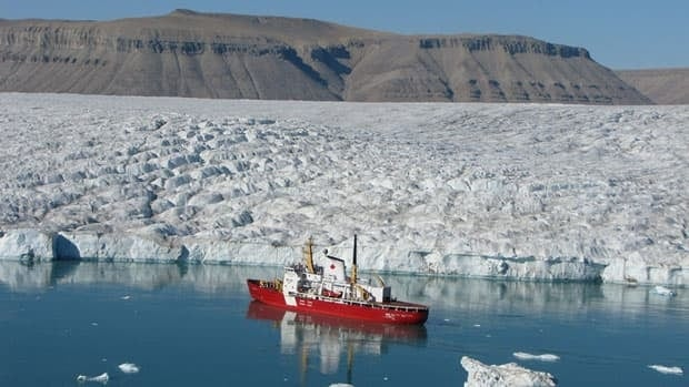The Canadian Cost Guard ship Des Groseilliers, seen here in the Bay of Strathcona off the coast of Baffin Island in Nunavut, helped to rescue a person who was on a resupply ship who needed medical help. Arctic mariners are now being warned their calls to the Coast Guard station in Iqaluit may or may not be heard.