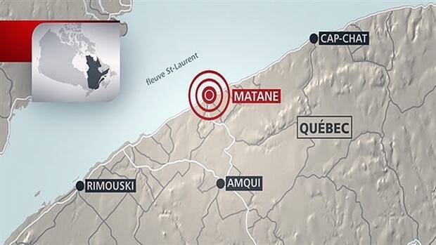 Tuesday's earthquake was centred about eight kilometres from Matane in Quebec's eastern Gaspé region.