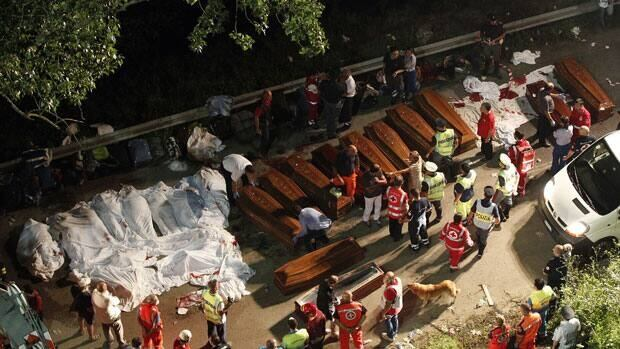 At least 36 people died after a coach plunged approximately 30 metres off a viaduct in southern Italy on Sunday, a spokesman for the fire service said.