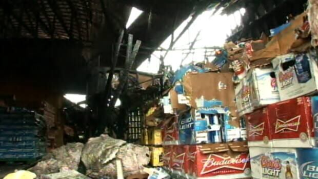 A fire has destroyed more than 300,000 beer cans on the Listiguj First Nation.
