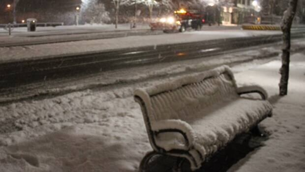 The town of Orangeville, Ont., lies blanketed by about 20 cm of snow.