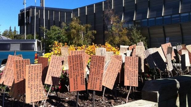 The Peel Youth Alliance planted stakes in front of the Yukon legislative assembly building Thursday to show support for the protection of the watershed.
