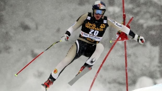 Canada's Erik Guay finished third in the World Cup men's downhill, in Val Gardena, Italy, Saturday, Dec. 15, 2012.