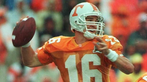 Peyton Manning starred as a collegiate quarterback at the University of Tennessee in the 1990s.