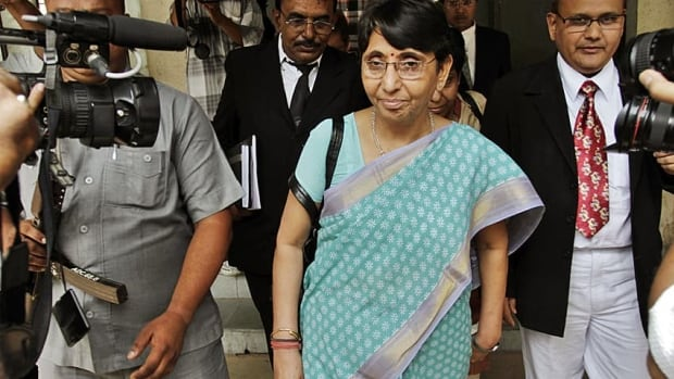 Former education minister Maya Kodnani exits a court in Ahmadabad, India in July 2012