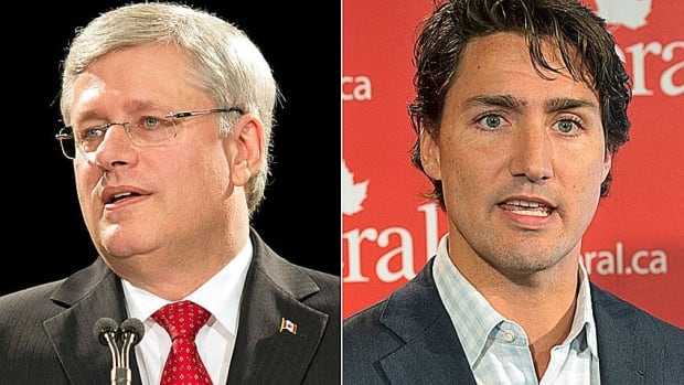Prime Minister Stephen Harper, right, and Liberal Leader Justin Trudeau