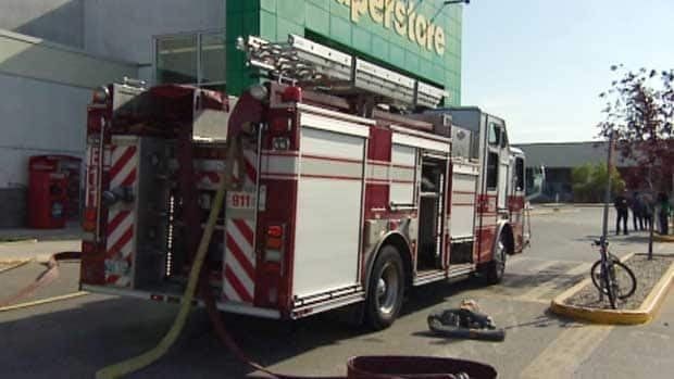Fire crews at the Real Canadian Superstore on Sargent Avenue on Aug. 23. On Tuesday, Winnipeg police said the fire was an act of arson.