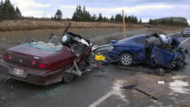 One man was killed and another man was seriously injured in a collision involving these two cars.