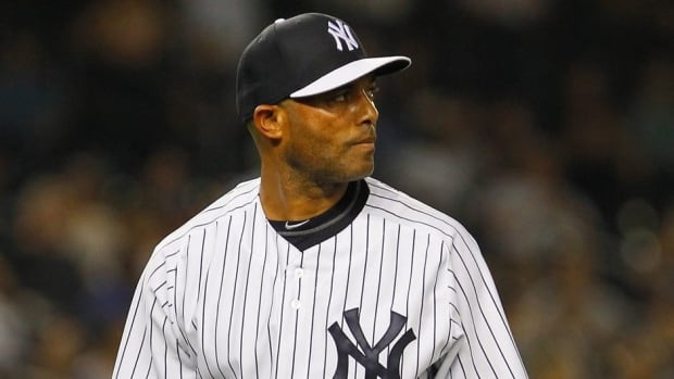 Mariano Rivera of the New York Yankees against the Detroit Tigers in the ninth inning at Yankee Stadium on August 9, 2013 in New York City.